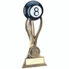 Brz/Gold Pool Ball On 3 Pronged Riser Trophy - (1In Centre) 8.5In