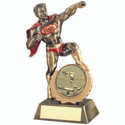 Brz/Gold/Red Resin Generic 'Hero' Award With Pool/Snooker Insert - 7.25In