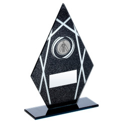 Black/Silver Printed Glass Diamond With Cricket Insert Trophy - 8In