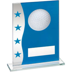Blue/Silver Printed Glass Plaque With Golf Ball Image Trophy - 7.25In