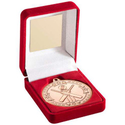 Red Velvet Box And 50Mm Medal Cricket Trophy - Bronze 3.5In