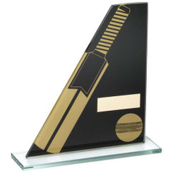Black/Gold Printed Glass Plaque With Cricket Bat/Ball Trophy - 7.25In