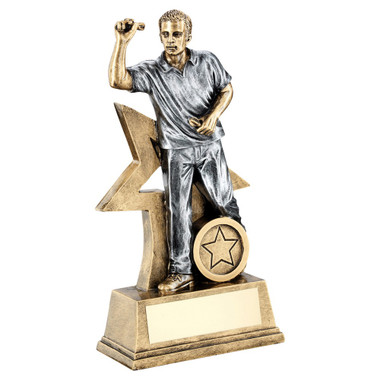 Brz/Gold/Pew Male Darts Figure With Star Backing Trophy (1In Centre) - 6In