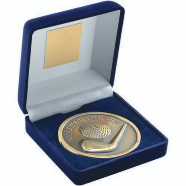 "Blue Velvet Box And 70Mm Medallion Golf Trophy - Antique Gold Nearest The Pin 4"""