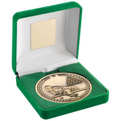 Green Velvet Box And 70Mm Medallion Pool/Snooker Trophy - Antique Gold - 4In
