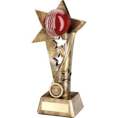 Brz/Gold/Red Cricket Twisted Star Column Trophy - (1In Centre) 9In