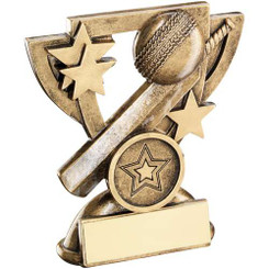 Brz/Gold Cricket Mini Cup Trophy - (1In Centre) 4.25In