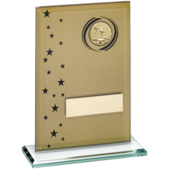 Gold/Black Printed Glass Rectangle With Pool/Snooker Insert Trophy - 6.75In