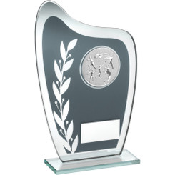 Grey/Silver Glass Plaque With Athletics Insert Trophy - 6.5In