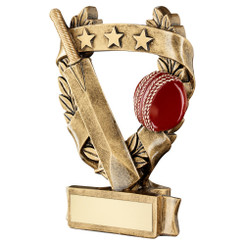Brz/Gold/Red Cricket 3 Star Wreath Award Trophy - 7.5In