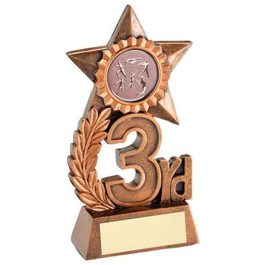 Leaf And Star Award Trophy With Athletics Insert - Bronze 3Rd - 4.75In