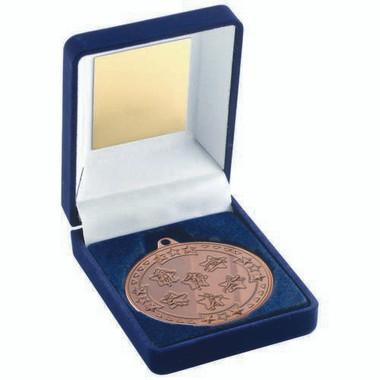 Blue Velvet Box And 50Mm Medal Multi Athletics Trophy - Bronze 3.5In