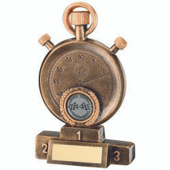 Brz/Gold Motor Sport Stopwatch On Podium Trophy - (1In Centre) 6.25In