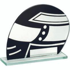 Jade Glass Blk/Silv Motor Sport Helmet Trophy - 4.25In