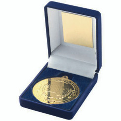 Blue Velvet Box And 50Mm Medal Motor Sport Trophy - Gold 3.5In