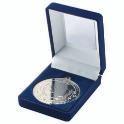 Blue Velvet Box And 50Mm Medal Motor Sport Trophy - Silver 3.5In