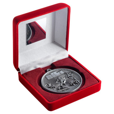 Red Velvet Box And 60Mm Medal Athletics Trophy - Antique Silver - 4In