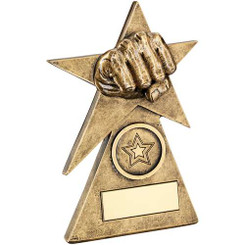Brz/Gold Martial Arts Star On Pyramid Base Trophy - (1In Centre) - 6In