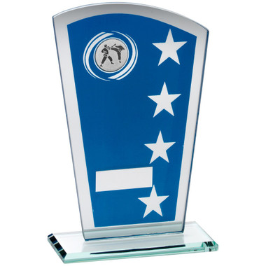 Blue/Silver Printed Glass Shield With Martial Arts Insert Trophy - 7.25In