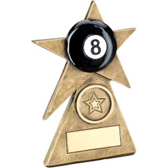 Brz/Gold/Black Pool Star On Pyramid Base Trophy - (1In Centre) - 4In
