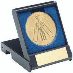 Black Plastic Box With Cricket Insert Trophy - Gold 3.5In