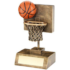 Brz/Gold/Orange Basketball And Net With Backboard Trophy - 5.25In