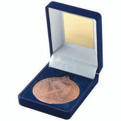 Blue Velvet Box And 50Mm Medal Hockey Trophy - Bronze 3.5In