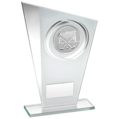 White/Silver Printed Glass Plaque With Hockey Insert Trophy - 8In