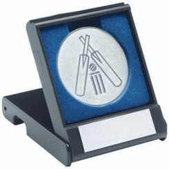Black Plastic Box With Cricket Insert Trophy - Silver 3.5In