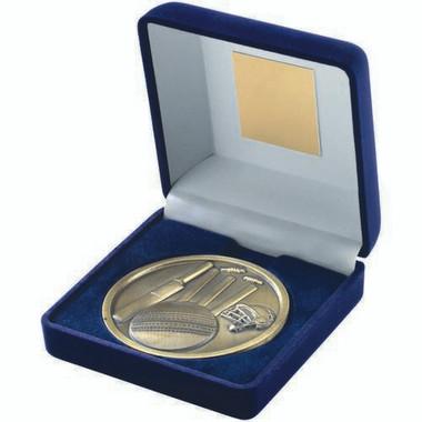 Blue Velvet Box And 70Mm Medallion Cricket Trophy - Antique Gold 4In