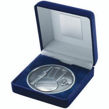 Blue Velvet Box And 70Mm Medallion Cricket Trophy - Antique Silver 4In