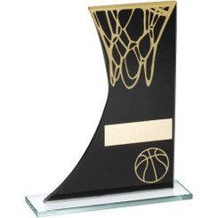 Black/Gold Printed Glass Plaque With Basketball/Net Trophy - 8In