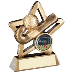 Brz/Gold Hockey Mini Star Trophy - (1In Centre) 3.75In