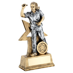 Brz/Gold/Pew Female Darts Figure With Star Backing Trophy (1In Centre) - 9In