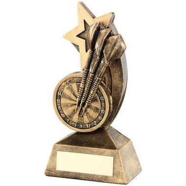Brz/Gold Dartboard/Darts With Shooting Star Trophy - 5In
