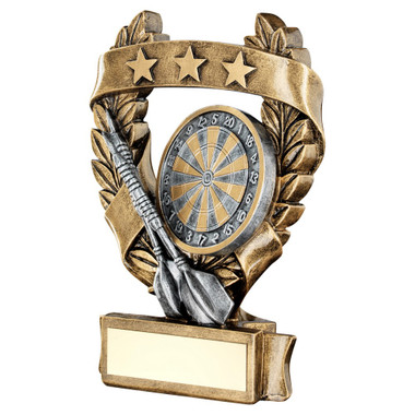 Brz/Pew/Gold Darts 3 Star Wreath Award Trophy - 6.25In