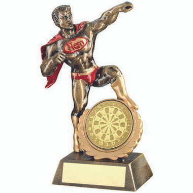 Brz/Gold/Red Resin Generic 'Hero' Award With Darts Insert - 7.25In