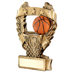 Brz/Gold/Orange Basketball 3 Star Wreath Award Trophy - 7.5In