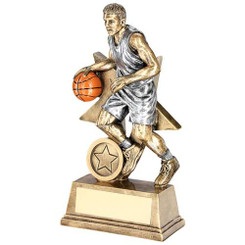 Brz/Pew/Orange Male Basketball Figure With Star Backing Trophy (1In Cen) - 6In