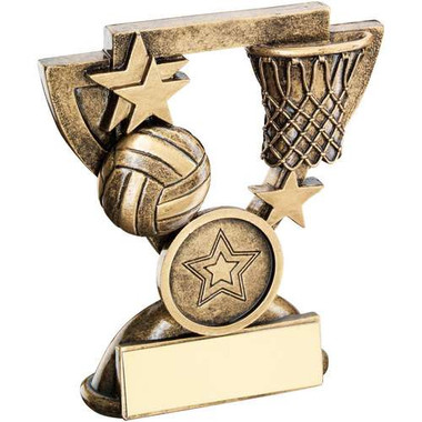 Brz/Gold Netball Mini Cup Trophy - (1In Centre) 4.25In