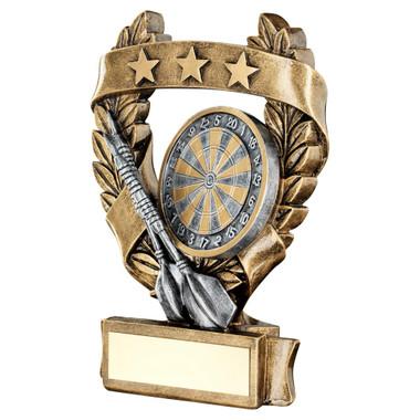 Brz/Pew/Gold Darts 3 Star Wreath Award Trophy - 5In