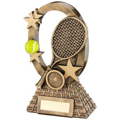Brz/Gold/Yellow Tennis Oval/Stars Series Trophy - (1In Centre) 6.25In