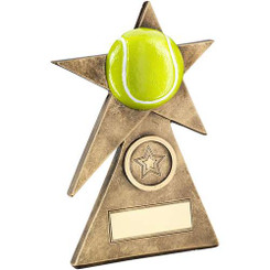 Brz/Gold/Yellow Tennis Star On Pyramid Base Trophy - (1In Centre) - 4In