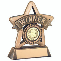 Brz/Gold Resin 'Winner' Mini Star Trophy - (1In Centre) 4.25In