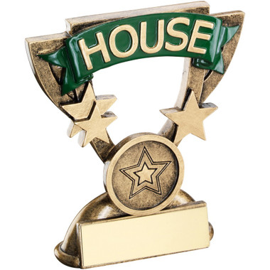 Brz/Gold School House Mini Cup Trophy - Green (1In Centre) 3.75In