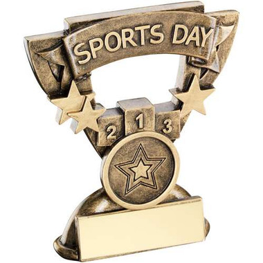 Brz/Gold Sports Day Mini Cup Trophy - (1In Centre) 3.75In