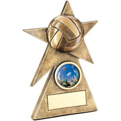 Brz/Gold Netball Star On Pyramid Base Trophy - (1In Centre) - 5In