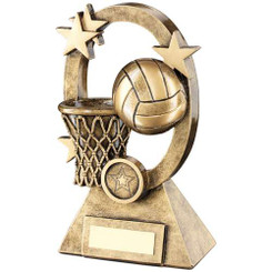 Brz/Gold Netball Oval/Stars Series Trophy -     (1In Centre) 7.25In