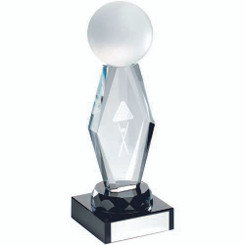 Clear Glass Lasered Pool/Snooker Column On Black Base Trophy - 6.25In