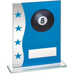 Blue/Silver Printed Glass Plaque With Pool Ball Image Trophy - 8In